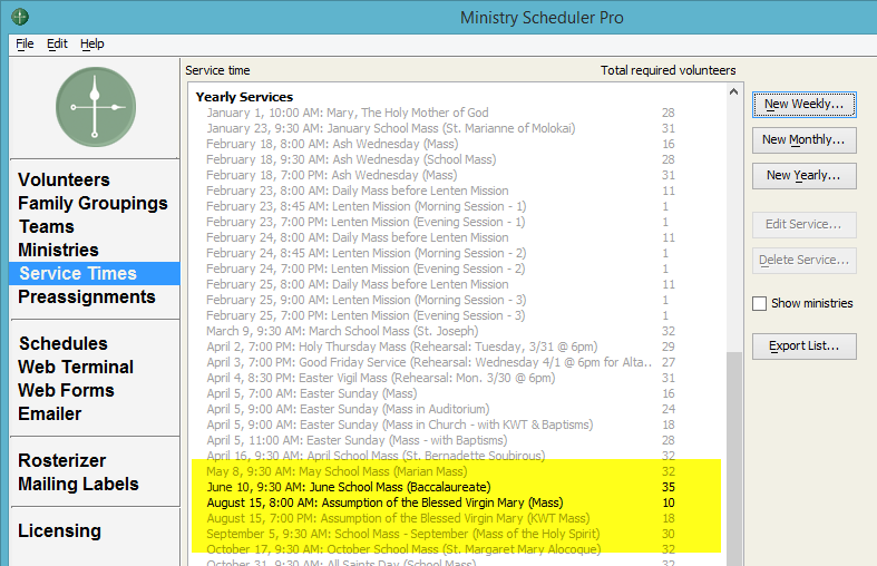 Ministry Scheduler Pro tip: create an awesome list of yearly services. De-activate and activate as needed. This is a great liturgy planning tool. Ministry Solutions Expert explains how to take advantage of it.